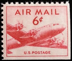 1949 6c DC-4, Small Plane Air Mail, Booklet Single Scott C39a Mint F/VF NH - $0.99