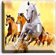 Lipizzan Stallion And Brown Horses In Wild Double Light Switch Wall Plate Cover - $9.71