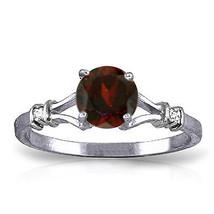 1.07 CTW Platinum Plated 925 Sterling Silver Cathy Garnet Diamond Ring - $79.50