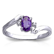 0.46 CTW Platinum Plated 925 Sterling Silver Mystic Amethyst Diamond Ring - $79.95