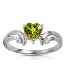 1.26 ct Platinum Plated 925 Sterling Silver Ring Diamond Peridot - $79.95