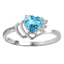 0.97 CTW Platinum Plated 925 Sterling Silver Ring Natural Diamond Blue Topaz - $79.95