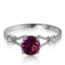 0.92 ct Platinum Plated 925 Sterling Silver Cathy Amethyst Diamond Ring - $79.95