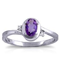 0.51 ct Platinum Plated 925 Sterling Silver Rings Diamond Purple Amethyst - $79.95
