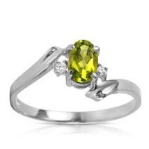 0.46 CTW Platinum Plated 925 Sterling Silver Rings Natural Diamond Peridot - $79.95