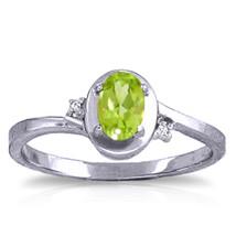0.51 ct Platinum Plated 925 Sterling Silver Rings Diamond Peridot - $79.95