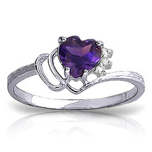 0.97 CTW Platinum Plated 925 Sterling Silver Ring Diamond / Purple Amethyst - $79.95