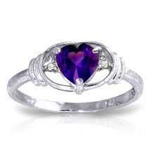 0.96 ct Platinum Plated 925 Sterling Silver Glory Amethyst Diamond Ring - $79.95
