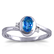0.51 CTW Platinum Plated 925 Sterling Silver Rings Diamond Blue Topaz - $79.95