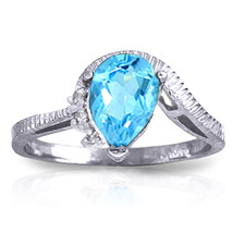 1.52 ct Platinum Plated 925 Sterling Silver Azur Blue Topaz Diamond Ring - $65.21