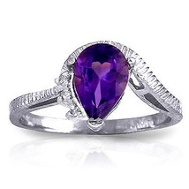 1.52 ct Platinum Plated 925 Sterling Silver Ring Diamond Purple Amethyst - $79.95
