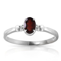 0.46 ct Platinum Plated 925 Sterling Silver Young Love Garnet Diamond Ring - $79.95