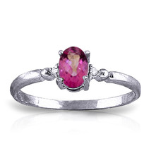 0.46 ct Platinum Plated 925 Sterling Silver Ring Natural Diamond Pink Topaz - $79.50