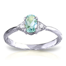 0.46 ct Platinum Plated 925 Sterling Silver Oval Aquamarine Diamond Ring - $79.50
