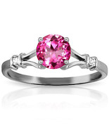 Platinum Plated 925 Sterling Silver Ring w/ Natural Diamonds & Pink Topaz - $112.72