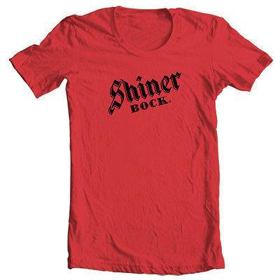 Shiner Bock T shirt German beer 100% cotton printed red white tee