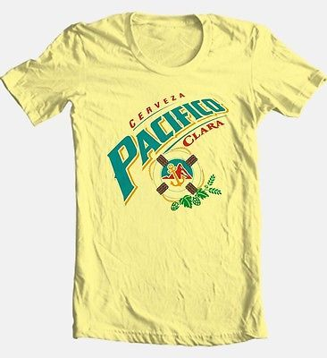 Pacifico Cervesa T shirt beer bar mexico 100% cotton graphic yellow tee