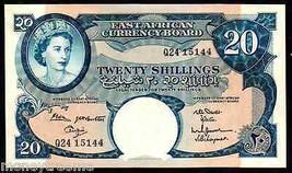 """East African Currency Board P 43b """"Elizabeth"""" 20 Shillings 1962 63 Nd Raw Au! - $495.00"""