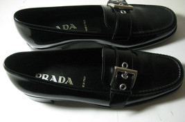 $380 PRADA Sz 36 US 6 Black Leather Silver Buckle Exquisite Italy RARE - $197.99