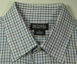 MICHAEL KORS XL Blue Navy White Plaid Dress Shirt - €68,70 EUR