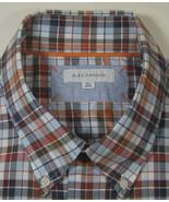ALEX CANNON Rich Burnt Orange Light Blue Plaid Checks Shirt RARE - $99.99