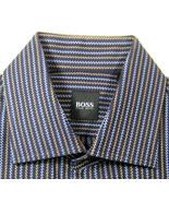 HUGO BOSS Md French Cuff Rich Brown Light Blue Zig Zag Dress Shirt - $29.99