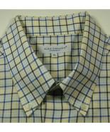 ALEX CANNON XL Light Yellow Light Blue Plaid Shirt Condition RAR - $99.99