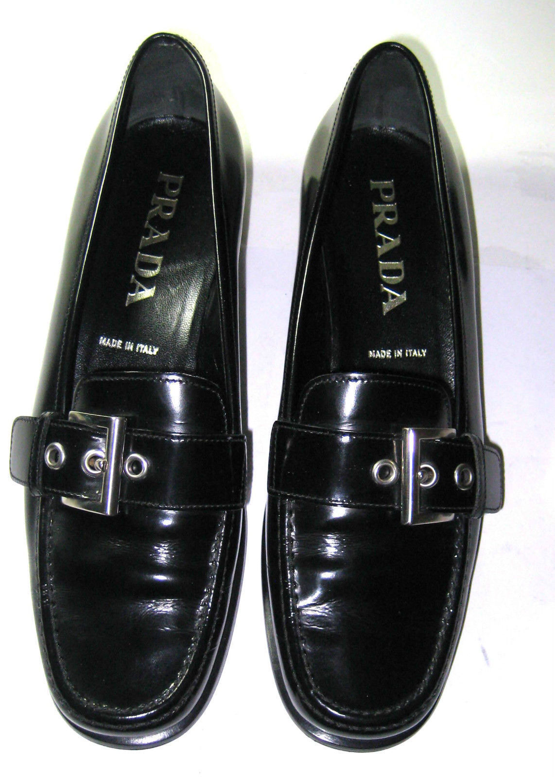 $380 PRADA Sz 36 US 6 Black Leather Silver Buckle Exquisite Italy RARE