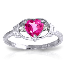 0.96 ct Platinum Plated 925 Sterling Silver Glory Pink Topaz Diamond Ring - $79.50