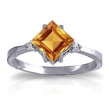 1.77 ct Platinum Plated 925 Sterling Silver Ring Diamond Citrine - $79.50