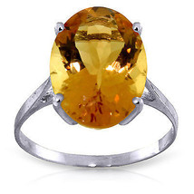 6 ct Platinum Plated 925 Sterling Silver Ring Natural Oval Citrine - $72.45