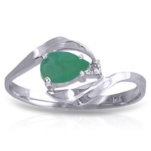 0.51 CTW Platinum Plated 925 Sterling Silver Ring Natural Diamond Emerald - $79.50