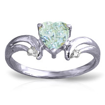 0.96 CTW Platinum Plated 925 Sterling Silver Heart Aquamarine Diamond Ring - $79.50