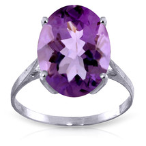 7.55 ct Platinum Plated 925 Sterling Silver Ring Natural Oval Purple Amethyst - $72.45