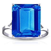 7 ct Platinum Plated 925 Sterling Silver Ring Natural Octagon Blue Topaz - $77.63
