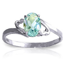 0.75 ct Platinum Plated 925 Sterling Silver Rings Natural Aquamarine - $79.50