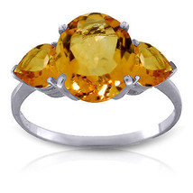 3.5 ct Platinum Plated 925 Sterling Silver Ring Natural Citrine - $79.95