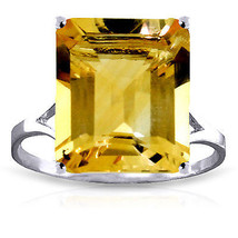 6.5 ct Platinum Plated 925 Sterling Silver Ring Octagon Citrine - $76.59