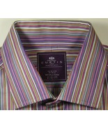 CURTIS Md Slim Fit Rich Purple Green Gold White French Cuff Shirt Excell... - $99.99