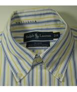 """POLO RALPH LAUREN """"Blake"""" Yellow Blue Stripe 100% 2-Ply Cotton RARE - $99.99"""