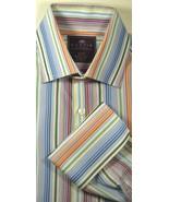 CURTIS Sm Slim Fit Rich Green Orange Blue Stripe White French Cuff Shirt... - $99.99