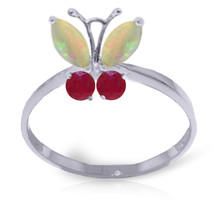 0.7 CTW Platinum Plated 925 Sterling Silver Butterfly Ring Opal Ruby - $79.50
