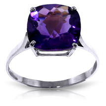 3.6 CTW Platinum Plated 925 Sterling Silver Ring Natural Purple Amethyst - $79.95