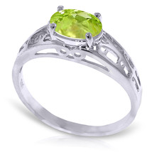 Platinum Plated 925 Sterling Silver Filigree Ring w/ Natural Peridot - $79.50