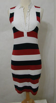 D&G Red, White, Blue 100% Cotton Striped Button Front Sleeveless Dress S NWOT - $179.99