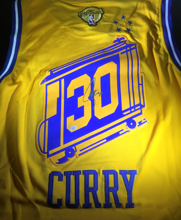 finest selection 20144 86059 STEPHEN CURRY - HAND SIGNED GOLDEN STATE WARRIORS RETRO FINALS LOGO JERSEY  - COA