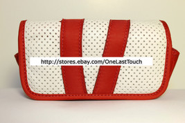 NYLON+FAUX LEATHER Holster for OSFM SMALL PHONES Red+White HOOK & LOOP New! - $5.93