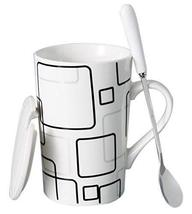 Creative Simple High-capacity Ceramic Cup, Square Plaid And Ceramic Cover - $21.83