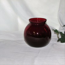 "ANCHOR HOCKING ROYAL RUBY VASE 4"" RED GLASS ROLY POLY SHAPE VINTAGE HOME... - $8.95"