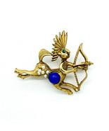 Vintage Mid Century Mythology Centaur Tribal Gold Tone Faux Pearl Pin Br... - $38.69